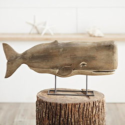 Grandin Road - Moby the Whale - Charming handcarved statuary of a whale on a black stand-the perfect addition to any seafaring décor.. Handcarved and hand-painted. Handfinished mangowood. Dust regularly and wipe with a damp cloth as needed. Imported. Make a whale of a statement with our charismatic Moby Statuary. At once realistic and vintage, Moby is made from mangowood that has been handcarved and hand-finished to let the natural beauty of the wood shine. His eyes have been meticulously hand-painted. He makes a fabulous focal point to any sea inspired decor. He displays on a metal stand with black finish. Charming handcarved statuary of a whale on a black stand-the perfect addition to any seafaring decor. .  .  .  .  .