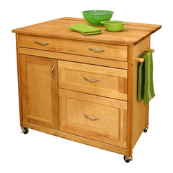 Catskill - The Mid-Sized Kitchen Island Multicolor - 1521 - Shop for Kitchen Islands from Hayneedle.com! You don't need a giant kitchen to get gourmet results especially when you have the Mid-Sized Kitchen Island. This rolling kitchen island features a solid wood door drawers braces and best of all - a butcher-block top. This means you can knead mix slice and chop to your heart's content. The sides and back panel are composed of warp-resistant hardwood veneer. It measures 40W x 26.5D x 34.5H inches and comes ready to assemble.The drop leaf of this kitchen island almost doubles the work surface and folds down when you're done for easy storage. The Mid-Sized Kitchen Island features a long top drawer as well as two large lower drawers with full extension glides perfect for storing larger items like pots and pans. An additional cabinet is just the place to tuck away small appliances. The hardware is sleek and stylish with a nickel-plated finish and the two towel bars are handy. Smooth-rolling casters have a stop-and-lock design on two wheels so you can put on the brakes when needed. Let the Mid-Sized Kitchen Island help make the most of your kitchen space. Made in the USA and crafted of sustainably harvested wood.Additional Features:Oiled finish2 towel barsLocking castersAdjustable interior shelfNickel-plated hardwareReady-to-assembleAbout Catskill Based in Stamford New York Catskill Craftsmen is the nation's leading manufacturer of ready-to-assemble kitchen islands carts and work centers. Every item is made from naturally self-sustaining non-endangered North American hardwoods like birch and hard rock maple. Because all sawdust shavings and waste materials generated during the manufacturing process are converted into wood pellet fuel Catskill Craftsmen generates no wood waste. Founded in 1948 this privately held company is dedicated to offering high-quality products at fair prices and the best customer service in the industry.
