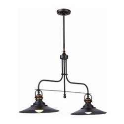 ArtCraft - ArtCraft-AC1472BZ-Heath - Two Light Island - Classic styling never goes out of style. A variation of an old fashioned gas light with a retro flare combined becomes the Heath Collection. A dark rich brown finish with copper accents and 100 Watt Medium Base bulbs. Multiple rods included for easy height adjustment (available in Satin Nickel as well) - Island double light.