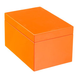 Large Lacquered Rectangular Box - Channel the insane elegance of Hermès packaging with orange lacquer boxes for your desktop.
