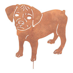 Rustica Ornamentals - Puggle Garden Stake or Wall Hanging - This handcrafted Puggle garden stake or wall art will become a decorative favorite in any yard. A cute way to add some fun to your home or garden decor.