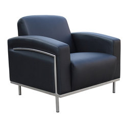 Boss Chairs - Boss Chairs Boss Black Caressoftplus Lounge Chair with Chrome Frame - Contemporary European design. Polished stainless steel frame. Upholstered with ultra soft, durable and breathable black Caressoft plus.