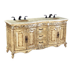 Ambella Home - Provincial Double Sink Chest - Light - Antiqued parchment finish, fluted front corners, aged silver highlights and an Ivory Cream marble top. Balsa porcelain sink installed.   Imported.