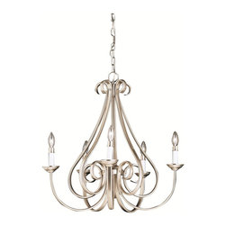 BUILDER - KICHLER 2021NI Transitional Chandelier - The Dover Collection takes classic design and offers its own unique, modern twist. Characterized by its long, sweeping arms, Dover fixtures offer a clean look while remaining fresh and exciting. With our exclusive Brushed Nickel finish over its hand-wrought steel frame, you can be sure of a high quality fit and finish that is second to none. This 5 light chandelier is another work of art. It is a testament to the quality fit and finish that you should expect and deserve in the Dover collection.