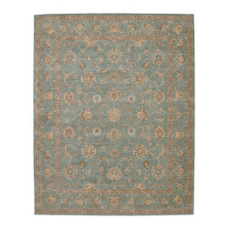 "Nourison - Nourison Heritage Hall HE15 8'6"" x 11'6"" Aqua Area Rug 81411 - Lustrous elegance sets the mood in deliciously cool aqua and peach. A masterwork of tonal harmony, the charming floral design highlights the tactile appeal of this lushly woven textile. Simply stunning in the modern home."