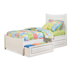 Atlantic Furniture - Full Manhattan Platform Bed / Matching Footboard / Raised Drawers / White - The bed offers classic look with modern appeal complemented with curved headboard, matching footboard and bright White finish. This price is for Twin bed with Raised Panel Drawers.