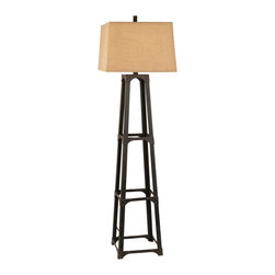 None - Photo Night Burlap Shade Metal Floor Lamp - Shine a light on classic design in your home with this lavish lamp. Featuring a bronze metal quad tower base paired with a natural burlap fabric shade, this piece embodies effortless charm.