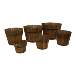 DeVault Enterprises - DeVault Enterprises 6 Piece Wooden Whiskey Barrel Planter Set (DEVBP208) - Devault Enterprises DEVBP208 6 Piece Wooden Whiskey Barrel Planter Set
