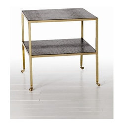 ARTERIORS Home - End Table - Crocodile embossed black leather adds to the luxe look of the 2-tiered Freud side table by Arteriors. Mounted on casters for mobility, this antique brass accent piece straddles the line between masculine and feminine design. Features: -Leather and brass.-Antique brass finish.-Distressed: No.Dimensions: -24'' Sq x 24.5'' H.-Overall Product Weight: 31 lbs.