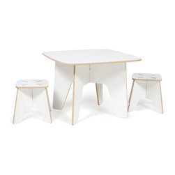 Quark Enterprises - Kids Table and 2 Stools Set, White - The Sprout Kids Table and Stools are perfect for drawing, play, or projects. They are made just the right size so you won't have to worry about potential falls, securing a booster seat, or helping your little ones climb up and down. The surface is durable and stain resistant so any spills will clean up easily.