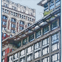 Soft City: Broadway Windows, Original, Mixed Media - Digitally manipulated photography, inkjet printing on cotton, hand quilting. Anodized aluminum hanging bars included (invisible from front when hung)..