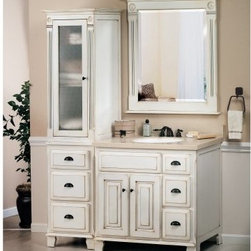 Sagehill Designs Victorian VQ3621D 36 in. Glazed White Single Bathroom Vanity - You can have the grace of the Victorian age all to your self with the Sagehill Designs Victorian VQ3621D 36 in. Glazed White Single Bathroom Vanity Set in your bathroom. Made to last from wood, this set is finished with a white glaze that is slightly weathered for style. The included tower adds to the spacious storage provided by the free-standing vanity. Its lovely beveled-glass mirror is framed in wood with a matching white glaze. About Sagehill DesignsWith Sagehill Designs, it's all in the details. Since 1986, Sagehill Designs has been crafting superior quality kitchen and bath furnishings. Rich in detail that matter, you'll find heirloom-quality finishes, impeccable craftsmanship, and generous storage wrapped in a smart design. You get it all with a Sagehill Design original. Sagehill Design's specialists in helping you create the perfect kitchen or bath environment.