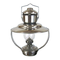 """Handcrafted Nautical Decor - WATERMARKED Chrome Trawler Lamp 12"""" - Nautical Decor - This chrome trawler cabin oil lamp exudes classic beauty and elegance with handcrafted solid brass and finely shaped glass. Designed to direct both light and heat downward from overhead in a ship's cabin, this lantern is able to both sit on a table or desk as well as hang suspended from above, and as a fully functional replica oil lantern it shines with bright light sufficient for various activities, from outdoor dining to writing letters. Now this trawler cabin oil lamp brings the same grace, elegance and functionality to any home, office or patio."""
