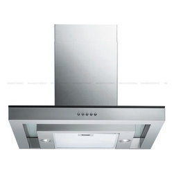 "Spagna Vetro - SPAGNA VETRO 30; SV198N-30 Wall-Mounted Stainless Steel Glass Range Hood - Mounting version - Wall Mounted 860 CFM centrifugal blower Three-speed mechanical, soft-touch push button control panel Two 35W halogen lights (Type: GU-10) Aluminum multi-layers micro-cell dishwasher-friendly grease filter(s) Machine crafted stainless steel (brushed finish) 6"" round duct vent exhaust and back draft damper Convertible to duct-free operation (requires optional charcoal filter) Telescopic flue accommodates 8ft to 9ft ceilings (optional flue extension available for up to 10ft ceiling) Tempered Glass Canopy For residential use only, one-year limited factory warranty"