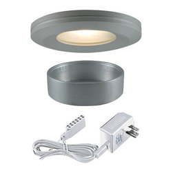 "Jesco Lighting - Jesco Lighting KIT-PK404-BA-A Halogen Beveled Edge Slim Under Cabinet Disk Kit - Jesco Lighting has built a solid reputation on quality, service and value. An expanded product offering includes a broad range of indoor and outdoor lighting products. All are available in various energy-efficient lamp sources and options exist for a multitude of power supplies and accessories allowing you to customize according to your project needs.Halogen beveled edge slim disk with frosted glass lens kit - brushed aluminum. Xenon and halogen slim disks offer small-scale, slender, surface-hugging design in high output low-energy sources that provide luminous true white light. Constructed of machined aluminum, fixtures measure less than 3"" in diameter, and can either be recessed or surface mounted. Includes 3 fixtures and a wall plugged power supply. Slim disks include 72"" Teflon insulated wire and amp connectors for quick connections to transformers the occasional re-lamping is made easy by simply twisting off the trim ring. Please note: slim disks are not intended for use in wall or ceiling applications.Features:"