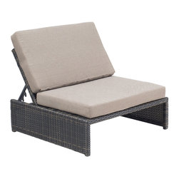 Zuo Modern Contemporary, Inc. - Delray Reclining Single Seat Espresso - Dark water-resistant weave supports the elegant beige cushion of the Delray Reclining Chair. Sit up with a salted margarita or lie back, coated in plenty of sunscreen. Perfect with the Delray Table Ottoman, sold separately.
