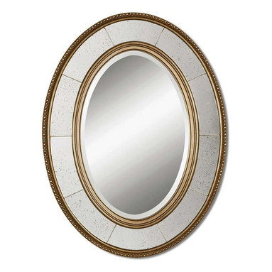 Uttermost - Lara Oval Champagne Silver Mirror - This silver leaf mirror is feng shui gold! A beaded edge and champagne silver leaf frame offers plenty of panache while the smart oval shape visually expands compact rooms. You get a champagne silver leaf mirror to create a beautiful, reflective space for your guest bathroom or entryway.