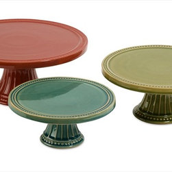 """Imax Worldwide Home - Reyes Pedestal Cake Plates - Set of 3 - This set of three Reyes pedestal cake plates feature bright red, green and blue finishes in small, medium and large sizes. Great for stacking to create a tiered serving centerpiece!; Country of Origin: China; Weight: 9 lbs; Dimensions: 8.5-10.25-12.5""""h x 8.5-10.25-12.5""""w x 3.75-4.5-5.5""""d"""