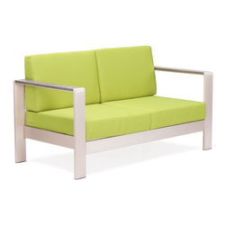 Zuo Modern - Cosmopolitan Sofa Cushions Green - Metallic and natural, seductively combined to create the sexy Cosmopolitan sofa. The frame is forged from aluminum and the wood slats are teak. The cushions are UV and water resistant. Sit back, relax, and let mother nature take care of you.