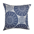 """The Pillow Collection - Maizah Geometric Pillow Blue - This contemporary pillow brings texture to your living room, bedroom or any space. With a unique geometric pattern in shades of blue and white, this decor pillow is a perfect statement piece. Mix and match this square pillow with solids and other patterns to make your decor style interesting and unconventional. The material used in this 18"""" pillow is 100% cotton-made. Hidden zipper closure for easy cover removal.  Knife edge finish on all four sides.  Reversible pillow with the same fabric on the back side.  Spot cleaning suggested."""