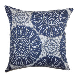 "The Pillow Collection - Maizah Geometric Pillow Blue - This contemporary pillow brings texture to your living room, bedroom or any space. With a unique geometric pattern in shades of blue and white, this decor pillow is a perfect statement piece. Mix and match this square pillow with solids and other patterns to make your decor style interesting and unconventional. The material used in this 18"" pillow is 100% cotton-made. Hidden zipper closure for easy cover removal.  Knife edge finish on all four sides.  Reversible pillow with the same fabric on the back side.  Spot cleaning suggested."