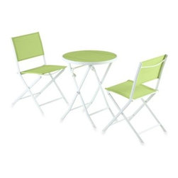 Yotrio Group Co. Ltd./li & Fung - 3-Piece Green Sling Bistro Set - This great, comfortable bistro set is perfect for a patio, deck or any other outdoor area where you need a small table and two chairs.