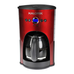 Kalorik - Programmable Coffeemaker, Red - Nothing is better than waking up to freshly brewed coffee. A programmable coffee maker is a total game-changer in the mornings. And this one will turn itself off within two hours of brewing, so there's less to worry about in the morning rush to get out the door.