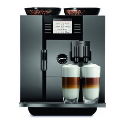Jura Capresso - Jura Capresso GIGA 5 One-Touch Cappuccino and Latte Macchiato System - Experience the next tier of home brewing with the Jura-Capresso Giga 5 One-Touch Super-Automatic espresso machine. Entertain like never before with the Giga 5's generous bean and water capacities and incredible dual grinding and brewing systems. Create two different one-touch specialty drinks at the same time or choose from one of 19 individually programmable specialty coffees.