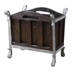 Miho Wooden Magazine Holder - Medium Stained Wood With Heavy Grain Showing Through And Silver Metallic Iron Accents.