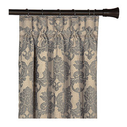 "Frontgate - Lancaster Curtain Panel - 108"" x 20"" - From Eastern Accents. 108"" x 48"".. Because this product is specially made to order, please allow 4-6 weeks for delivery. Dry clean only recommended. Silks, chenille, and hand-painted pillows are at the heart of the formal Lancaster Bedding Collection. A cream background brings pewter and gold to life in complementary stripe, scroll, and diamond frame designs to create a powerful, articulate sense of refinement and style. Luxurious trimmings used in Lancaster include a 5-1/2"" tassel and a 7"" fringe.  .  . .  . Made in the USA from imported fabrics. Part of the Lancaster Bedding Collection."