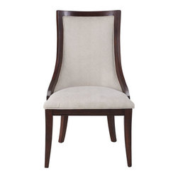 "Horchow - Two ""Allerton"" Chairs - Finely crafted of ribbon-stripe mahogany and select hardwoods, these dining chairs feature a beautiful grain enhanced by a ""merlot mahogany"" finish. Fully upholstered front and back in cream-colored polyester. Sold in pairs; each, 23""W x 28""D x 40""T...."