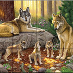 The Tile Mural Store (USA) - Tile Mural - A Family Of Wolves - Ch - Kitchen Backsplash Ideas - This beautiful artwork by Chris Hiett has been digitally reproduced for tiles and depicts a wolf family.  Our wolf tile murals and our tiles with foxes are perfect as part of your kitchen backsplash or your tub and shower surround bathroom tile project. Images of wolves on tiles and fox images on tiles add a unique element to your bathroom tiling project as well. Consider a tile mural of a woodland scene for any wall tile project.