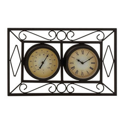 """Benzara - Attractive Unique Styled Metal Wall Clock - Wow! Check out this old clock that will add up beauty to your interiors. If you have been looking for a wall clock that is simple, and looks as if it were from an old building in England, then this is the wall clock you should seriously consider buying. With a brown dial with age marks, and white border s with chocolate brown roman numerals, this wall clock not only displays time, but it does it in a distinctive way. Quality materials in its making ensure that this wall clock will last for years to come, displaying time accurately day in day out. Perfect for homes with older ambiences, its aged looks will go well with traditional decors. Its sleek built and intentional worn looks are sure to draw the attention of your visitors, garnering for your choice a heap of complements. Metal wall clock measures 18 inches (W) x 11 inches (H); Brown dial with age marks; Made of quality metal; Dimensions: 19""""L x 3""""W x 12""""H"""