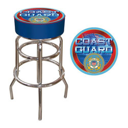 Trademark Global - US Coast Guard 30 in. Padded Backless Swivel Bar Stool Multicolor - USCG1000 - Shop for Stools from Hayneedle.com! Show your respect for the people who keep our shores safe with the 30-Inch US Coast Guard Padded Backless Swivel Bar Stool. Comfy and sturdy this stool features a full-color long-lasting reproduction of the U.S. Coast Guard logo and seal. The stool has a chrome-plated double-rung metal base with a round padded seat covered in commercial-grade vinyl in blue with red piping. Suitable for home or commercial use the stool's adjustable levelers on each leg provide a steady place to sit even on uneven floors. This stool's height is perfect for pub and bar-height tables and it adds casual design to any recreational decor. Dimensions: 14.75 diam. x 30H inches. Please note: This item is not intended for commercial use. Warranty applies to residential use only. About Trademarkcommerce.com Inc./Trademark Global Inc.Located in Lorain Ohio Trademarkcommerce.com Inc. is a wholesale distributor offering a vast selection of items. Whether you need automotive products collectibles electronics general merchandise home and garden items home decor house wares outdoor supplies sporting goods tools or toys Trademarkcommerce.com has it at a price you can afford. Trademarkcommerce.com features hundreds of products within each category of items it stocks.