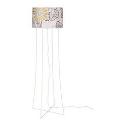 Virgil Floor Lamp, White Powder Coat Base, Kimono