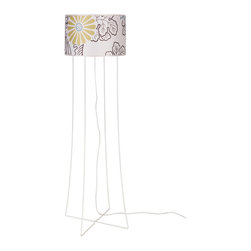 Lights Up! - Virgil Floor Lamp -White Powder Coat Base, Kimono - Liven up your stale room with the addition of this fun floor lamp. The interesting metal base and cheerful shade instantly refreshes your boring old look.