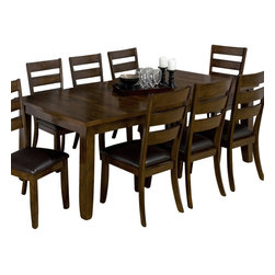 Jofran - Jofran 337-84 Tyler Brown Cherry Rectangular Dining Table with Leaf - Combining traditional details with modern designs, Jofran has a collection to compliment any home decor. This rectangular dining table with Take Out Leaf belongs to 337 Series - Tyler brown cherry collection by Jofran Inc. The classic formulas of color combinations are not valid in Jofran Furniture territory: here is ruled by laws solely of your own preferences and fantasies. Huge selection of colors in combination with a wide choice of shapes and sizes allow you to find among this variety precisely the furniture you've always wanted to see in your home. Jofran Furniture offers high quality, casual furniture pieces that are constructed from premium Asian hardwoods, and finished with beautiful veneers. Durable materials and quality assembly will help your furniture to serve for many years and will not let you be disappointed in your choice.