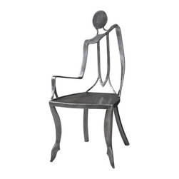 """Carolyn Kinder - Carolyn Kinder Lena Accent Chair X-81342 - This top grade, polished raw steel chair takes a whimsical turn blending sculptural artistry with modern industrial materials. Seat height is 19""""."""