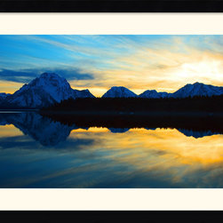 Amanti Art - Teton Sunset Framed Print by Andy Magee - Magical and mysterious, this stunning piece of photography will lend drama to any room. With the sun setting behind the Grand Teton Mountains the lake and snowcapped peaks take on majestic and mythical beauty.