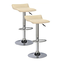 Leick Furniture - Leick Furniture Adjustable Height Swivel Stool in Cream (Set of 2) - Leick Furniture - Bar Stools - 10042CR - The Leick Cream Adjustable Height Swivel Stool comes in a set of 2 with a heavy duty steel cylinder offer smooth and reliable seat height adjustment. A versatile seat for counter height bar height or anything in between. Full swivel seats and sturdy footrests deliver comfort in this bold chrome and faux leather beauty.