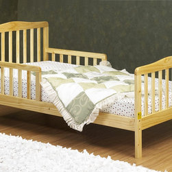 Orbelle Natural Orbelle Contemporary Solid Wood Toddler Bed - I really like the railings on this bed. It looks kind of fancy with the high headboard and footboard.