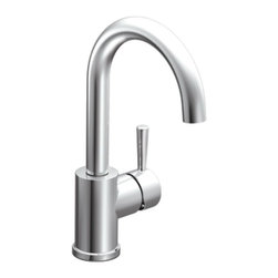 """Moen - Moen 5100 Level Single Handle Bar/Prep Faucet in Chrome - Moen 5100 Level Single Handle Bar/Prep Faucet in ChromeThe Level suite features a modern, sleek design and refined style that transcends seamlessly to the modern home. The Level collection stands apart with its clean, geometric lines.Moen 5100 Level Single Handle Bar/Prep Faucet in Chrome, Features:• High-arc spout provides more clearance• Single lever style handle• Spout height: 12.71""""• Flexible supplies with 3/8"""" compression fittings• Single hole mount• 360? rotating spout provides ability to install handle on either side• 2.2 GPM (8.3 l/ min)• ADA CompliantSpecification Sheet - Moen 5100 Moen Limited Lifetime WarrantyManufacturer: MoenModel Number: Moen 5100Manufacturer Part Number: 5100Collection: LevelFinish Code: Finish: ChromeUPC: 026508013618This product is also listed under the following Manufacturer Numbers and Finish Codes:Moen-51005100Moen 5100MO5100Product Category: Kitchen FaucetsProduct Type: Bar Prep Faucet"""