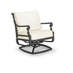 Frontgate - Carlisle Swivel Outdoor Lounge Chair with Cushions in Black Finish - Bordeaux Li - Fine-furniture design. 100% ingot aluminum, a premium quality material. Hand-filed welds. Rich, multilayered onyx finish with UV protected top coat. Smooth 360º swivel and rocking mechanism. Our Carlisle Onyx Swivel Rocker Lounge Chair's impeccable, grandly scaled cast-aluminum frame is crafted to stand the test of time. Fine furniture details such as scrolling arms and crisscrossing back are in a rich, multilayered onyx finish. Premium 100% solution-dyed fabrics encase the seat and softly rounded back cushions. The chair relaxes you with a gentle swivel and rocking motion. Part of the Carlisle Onyx Collection.  .  .  .  .  . Cushions included . 100% solution-dyed and woven fabrics . All-weather cushions have a high-resiliency foam core wrapped in plush polyester . Cushions also available with 100% waterproof Sunbrella Rain performance fabric. Assembly required .