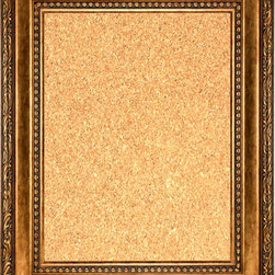 """Framed Cork Board 20"""" x 24"""" - with Smokey Gold Finish Scoop Frame - 20"""" x 24"""" framed premium cork board produced to meet designer quality standards. This decorative framed bulletin boards are produced using high-precision framing techniques for a high-quality finished product with an extra thick cork surface. Our progressive business model allows us to offer these practical, yet decorative message boards to you at the best wholesale pricing, significantly less than frame shop corkboards, affordable to all. Great for office, conference room, home, kitchen, scheduling, leaving memos, to-do lists, family schedules, kid's art, photos, mementos, reminders, messages, lists, as an organizer, menu, for writing, drawing, classroom, school teacher, coaching and more. This corkboard is mounted into our 4 1/2"""" wide smokey gold finish scoop frame by one of our expert framers. This framed pinboard comes with hardware, ready to hang on your wall, with the option of hanging horizontally or vertically.  We present a comprehensive collection of exceptional framed cork boards."""