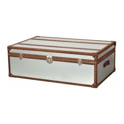 Metal Finish Trunk Coffee Table - CDI. 48w x 30d x 16h. Available for order at Warehouse 74.