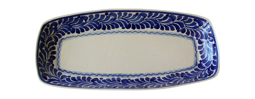 El Mar Platter - Long story short, this elongated platter will become your go-to favorite for fiestas of every kind. Use it to serve everything from cheese and crackers to tacos to antipasti. Its simple, yet elegant pattern and cool blue hues will make your guests feel instantly welcome.