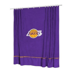 Sports Coverage - Sports Coverage NBA Los Angeles Lakers Sideline Shower Curtain - Spruce up your Bathroom and show your NBA spirit with this Los Angeles Lakers Sideline Shower Curtain from Sports Coverage! This NBA Shower Curtain is the perfect for any real fan.   Features:   -  Centered NBA team logo on team colors,    - Soft leather texture-printed stripe,    -  Officially Licensed,    -  Machine washable,     -  Made in USA,    - 72 H x 72 W,