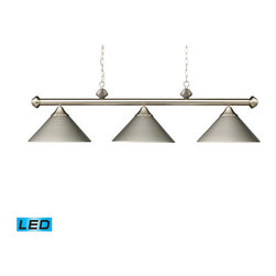 Elk Lighting - Landmark Lighting Casual Traditions 168-SN-LED 3-Light Billiard/Island in Satin - 168-SN-LED 3-Light Billiard/Island in Satin Nickel w/ Metal Shades - LED - 800 Lumens belongs to Casual Traditions/Billiard/Island Collection by Landmark Lighting These Collections Provide Simplified Elegance With Beautiful Variations Of Metal And Glass. These Triple Light Models Work Well Over A Pool Table Or Kitchen Island To Provide Optimal Illumination And A Touch Of Class. - LED, 800 Lumens (2400 Lumens Total) With Full Scale Dimming Range, 60 Watt (180 Watt Total)Equivalent , 120V Replaceable LED Bulb Included Billiard/Island (1)