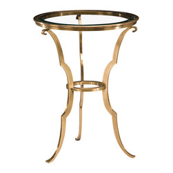 "Inviting Home - Brass Table with Glass Top - Round hand-cast solid brass table in antique finish. Occasional table has clear beveled glass top 18"" x 24-1/4""H Round hand-cast solid brass table in antique finish. Occasional table has clear beveled glass top."