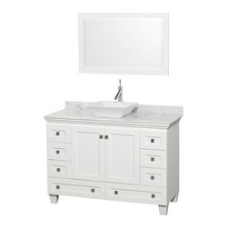 "Wyndham Collection(R) - Acclaim 48"" Single Bathroom Vanity for Vessel Sink by Wyndham Collection - White - Sublimely linking traditional and modern design aesthetics, and part of the exclusive Wyndham Collection(TM) Designer Series by Christopher Grubb, the Acclaim Vanity is at home in almost every bathroom decor. This solid oak vanity blends the simple lines of traditional design with modern elements like square undermount sinks and brushed chrome hardware, resulting in a timeless piece of bathroom furniture. The Acclaim is available with a White Carrera or Ivory marble counter, porcelain sinks, and matching mirrors. Featuring soft close door hinges and drawer glides, you'll never hear a noisy door again! Meticulously finished with brushed chrome hardware, the attention to detail on this beautiful vanity is second to none and is sure to be envy of your friends and neighbors! Acclaim Bathroom Vanities are available here in multiple sizes and finishes and are now available with optional CaesarStone® counters! The Wyndham Collection is an entirely unique and innovative bath line. Sure to inspire imitators, the original Wyndham Collection sets new standards for design and construction. FeaturesConstructed of environmentally friendly, zero emissions solid Oak hardwood, engineered to prevent warping and last a lifetime12-stage wood preparation, sanding, painting and finishing processHighly water-resistant low V.O.C. sealed finishCutting edge, unique styling by Interior Designer Christopher GrubbPractical Floor-Standing DesignMinimal assembly requiredDeep Doweled DrawersFully-extending under-mount soft-close drawer slidesConcealed soft-close door hinges Counter options include Ivory Marble, White Carrera Marble and Custom Black GraniteCounters include 3"" backsplash Counters include porcelain undermount sinks Pre-drilled for a single hole faucet Faucet not included Matching mirror availableMetal exterior hardware with brushed chrome finishTwo (2) functional doorsEight (8) functional drawersPlenty of storage space Includes drain assemblies and P-traps for easy assembly Variations in the shading and grain of our natural stone products enhance the individuality of your vanity and ensure that it will be truly uniqueDesigned by famous Beverly Hills interior designer Christopher Grubb exclusively for Wyndham Collection How to handle your counter Spec SheetInstallation Instructions Installation Guide for Mirrors --> Spec Sheet for WC-CG8000-LT Spec Sheet for WC-V202 Spec Sheet for WC-CG8000-WC Please note that all custom natural stone and Caesarstone counters are proudly manufactured in the USA specifically for your order, and so require up to 3 weeks manufacturing time. Caesarstone Carbone, Starry Night, Spring Blossom, and Marrone are made from recycled content. Quartz Reflections and Ruby Reflections colors are made with up to 35% post-consumer recycled glass. Chocolate Truffle color is made with up to 17% post-consumer recycled glass. Natural stone like marble and granite, while otherwise durable, are vulnerable to staining from hair dye, ink, tea, coffee, oily materials such as hand cream or milk, and can be etched by acidic substances such as alcohol and soft drinks. Please protect your countertop and/or sink by avoiding contact with these substances. For more information, please review our ""Marble & Granite Care"" guide."